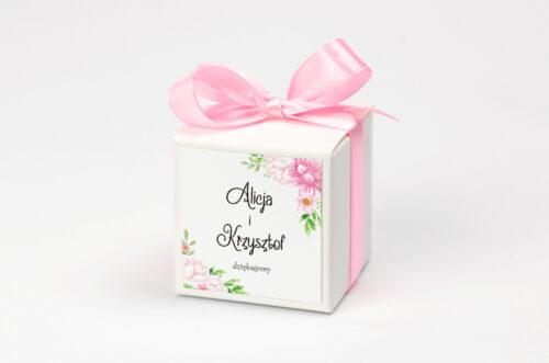 Pudełeczko z personalizacją - Ze zdjęciem i sznurkiem - Pastelowe kwiaty w różu