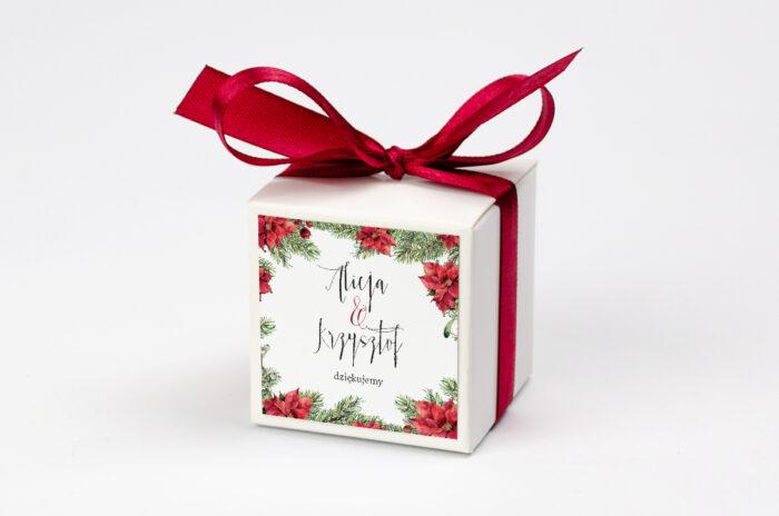 pudełko personalizowane na krówki we wzorze gwiazdy betlejemskiej