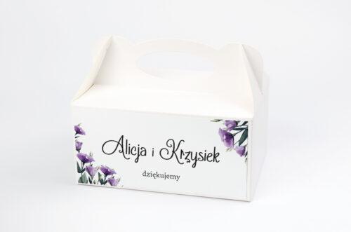 Pudełko na ciasto do zaproszenia ze zdjęciem i sznurkiem - Fioletowe Eustomy