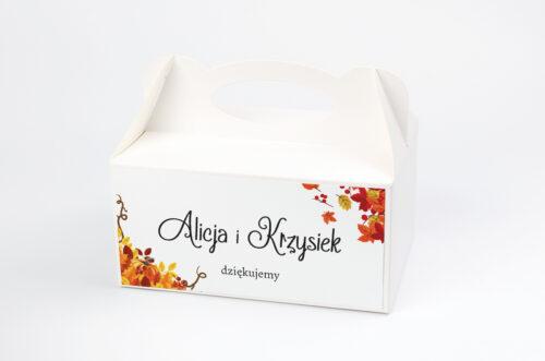 Pudełko na ciasto do zaproszenia ze zdjęciem i sznurkiem - Jesienny ślub