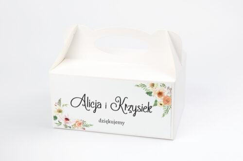 Pudełko na ciasto do zaproszenia ze zdjęciem i sznurkiem - Słoneczne Kwiaty