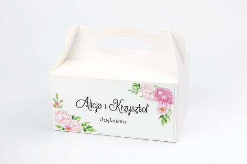 Pudełko na ciasto do zaproszenia ze zdjęciem i sznurkiem - Pastelowe kwiaty w różu