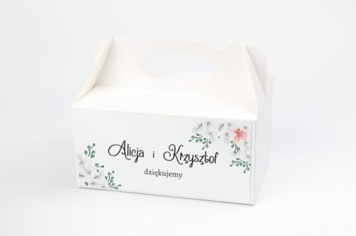 Pudełko na ciasto do zaproszenia ze zdjęciem i sznurkiem - Białe Storczyki