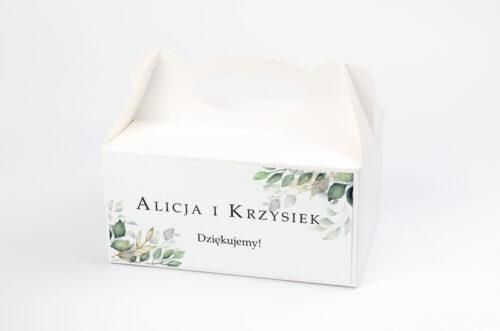 Ozdobne pudełko na ciasto do zaproszeń Botaniczne – Gałązki ze złotem