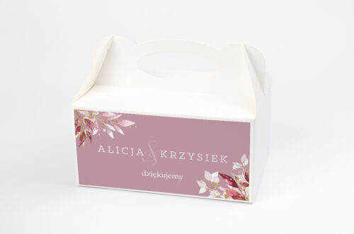Ozdobne pudełko na ciasto - Akwarelowe Bukiety – wzór 1