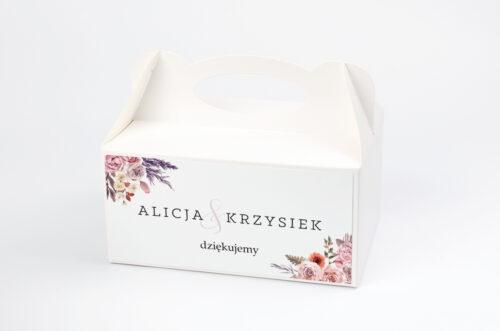 Ozdobne pudełko na ciasto - Akwarelowe Bukiety – wzór 10