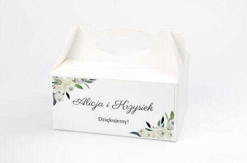 Ozdobne pudełko na ciasto jednokartkowe - Białe kwiaty