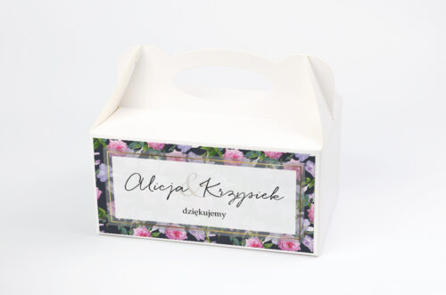 Ozdobne pudełko na ciasto Tło z kwiatów – wzór 10