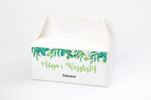Ozdobne pudełko na ciasto do zaproszeń Kwadratowe – Zielony Wianek