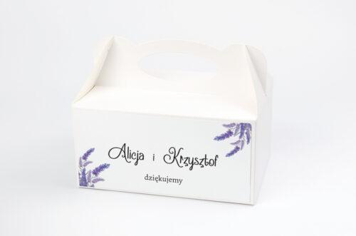 Pudełko na ciasto do zaproszenia ze zdjęciem i sznurkiem - Lawendowy ślub