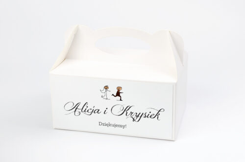 Ozdobne pudełko na ciasto - Lolki uciekający pan