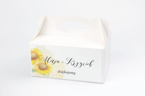 Ozdobne pudełko na ciasto - do zaproszenia Namalowane Kwiaty w słoneczniki