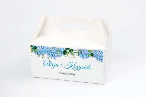 Ozdobne pudełko na ciasto do zaproszeń Wianki z Kokardą - Niebieskie Hortensje