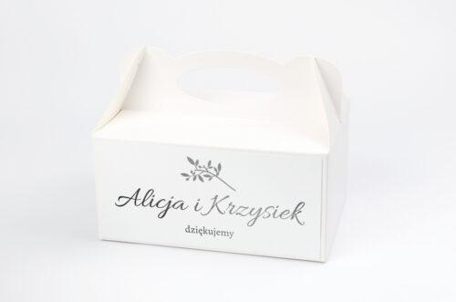 Ozdobne pudełko na ciasto Srebrne Lustro – Delikatne Gałązki