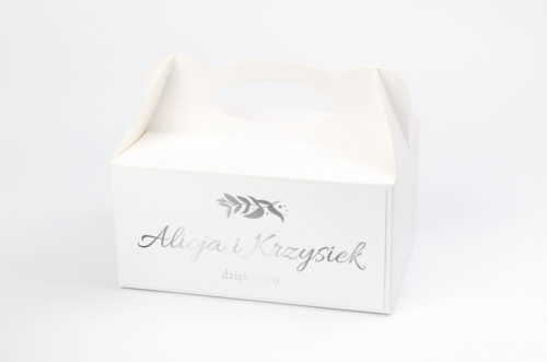 Ozdobne pudełko na ciasto Srebrne Lustro – Liście Eukaliptusa