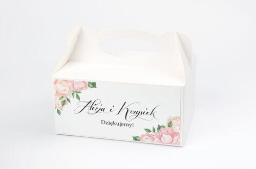 Ozdobne pudełko na ciasto do zaproszeń Wianki z Kokardą - Herbaciane Róże