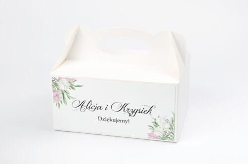 Ozdobne pudełko na ciasto do zaproszeń Wianki z Kokardą - Biało-Fioletowe Eustomy