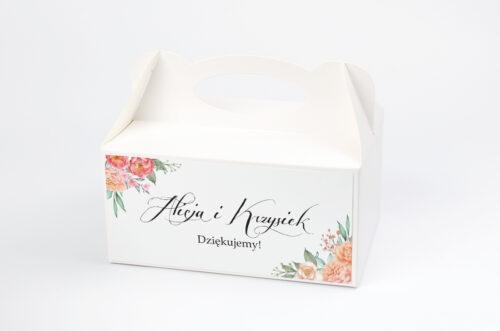 Ozdobne pudełko na ciasto do zaproszeń Wianki z Kokardą - Herbaciany Wianek