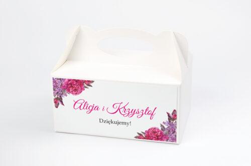 Ozdobne pudełko na ciasto do zaproszeń Wianki z Kokardą - Peonie z bzem