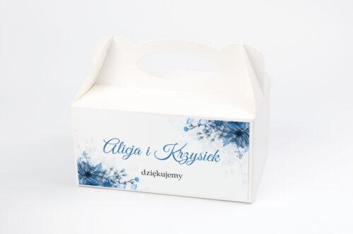 Ozdobne pudełko na ciasto do zaproszeń Zdjęcie&Kalendarz w folderze – Niebieski bukiet