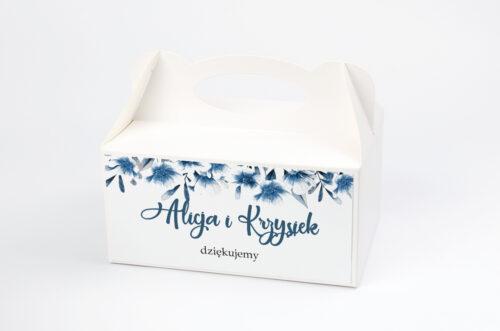 Ozdobne pudełko na ciasto do zaproszeń Zdjęcie&Kalendarz w folderze – Niebieskie kwiaty