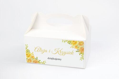 Ozdobne pudełko na ciasto do zaproszeń Zdjęcie&Kalendarz w folderze – Żółte róże