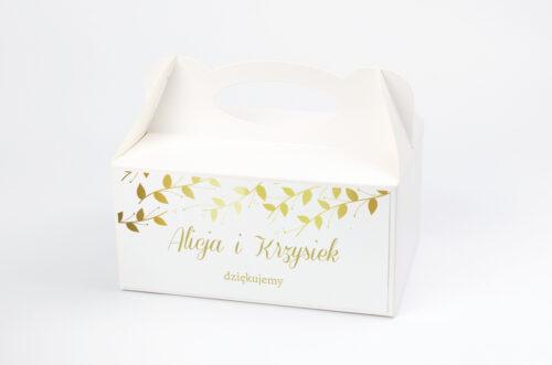 Ozdobne pudełko na ciasto Złote Lustro – Delikatne Liście