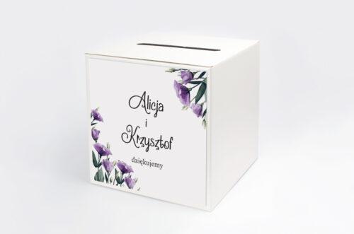Personalizowane pudełko na koperty do zaproszenia ze zdjęciem i sznurkiem - Fioletowe Eustomy