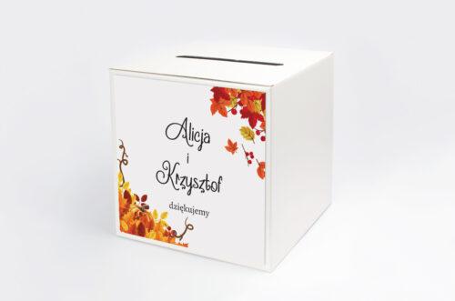 Personalizowane pudełko na koperty do zaproszenia ze zdjęciem i sznurkiem - Jesienny ślub