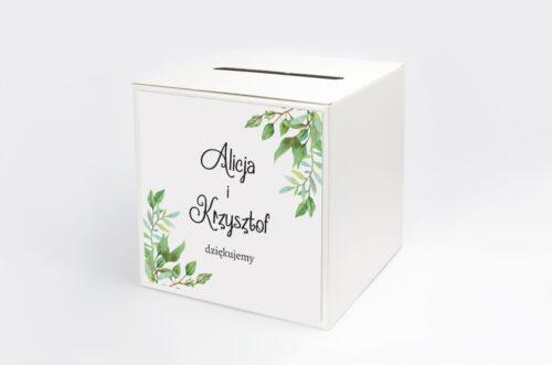 Personalizowane pudełko na koperty do zaproszenia ze zdjęciem i sznurkiem - Liściaste