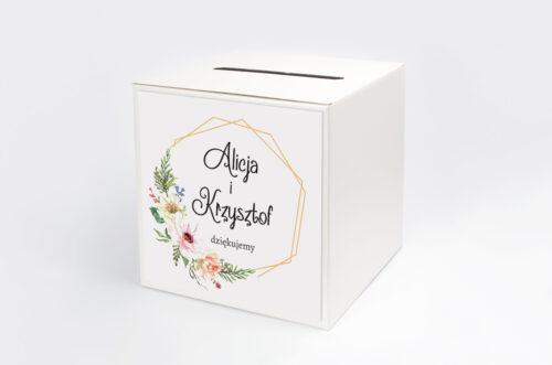 Personalizowane pudełko na koperty do zaproszenia ze zdjęciem i sznurkiem - Słoneczne Kwiaty