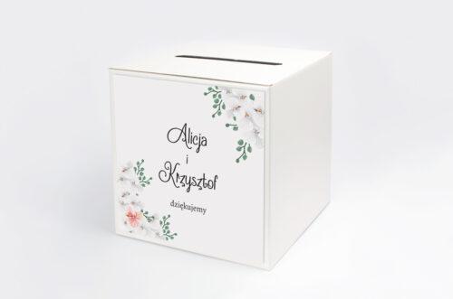 Personalizowane pudełko na koperty do zaproszenia ze zdjęciem i sznurkiem - Białe Storczyki