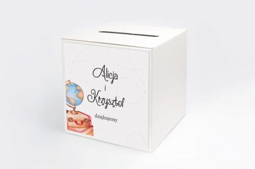 Personalizowane pudełko na koperty do zaproszenia ze zdjęciem i sznurkiem - Dookoła Świata
