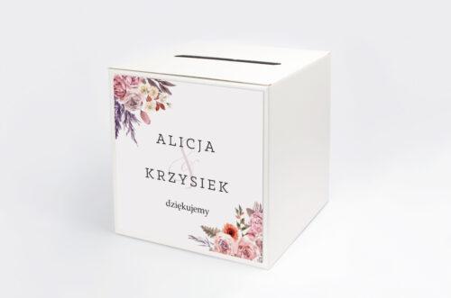 Pudełko na koperty do zaproszenia Akwarelowe Bukiety – wzór 10