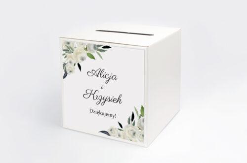 Pudełko na koperty do zaproszenia jednokartkowe - Białe kwiaty