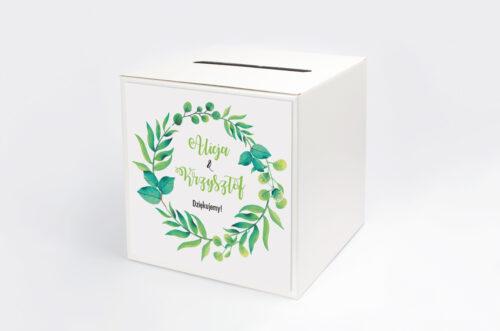 Pudełko na koperty do zaproszeń Kwadratowe – Zielony Wianek