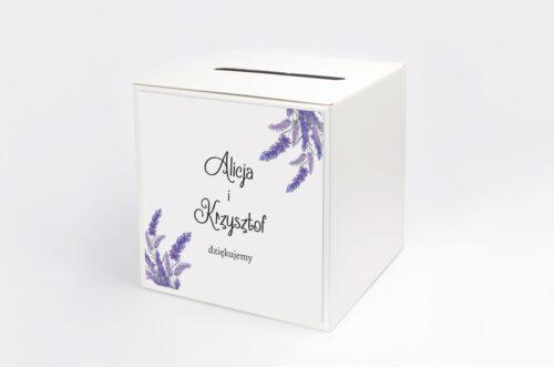 Personalizowane pudełko na koperty do zaproszenia ze zdjęciem i sznurkiem - Lawendowy ślub