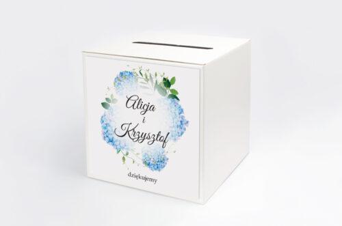 Pudełko na koperty do zaproszeń Wianki z Kokardą - Niebieskie Hortensje