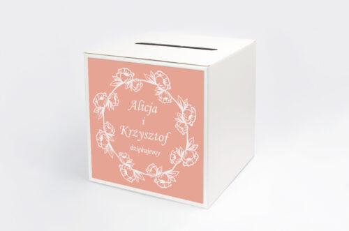 Pudełko na koperty do zaproszeń Kwadratowe – Różany Wianuszek