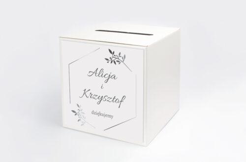 Pudełko na koperty do zaproszenia Srebrne Lustro – Delikatne Gałązki