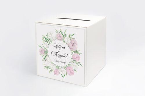 Pudełko na koperty do zaproszeń Wianki z Kokardą - Biało-Fioletowe Eustomy