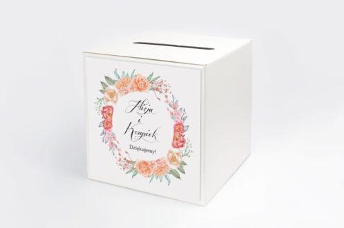 Pudełko na koperty do zaproszeń Wianki z Kokardą - Herbaciany Wianek