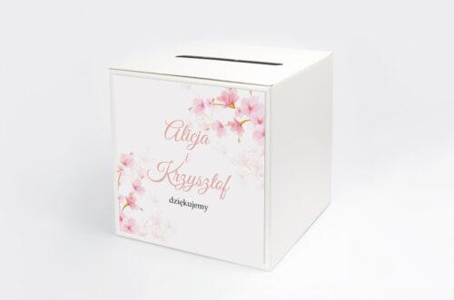 Pudełko na koperty do zaproszeń Zdjęcie&Kalendarz w folderze – Kwiaty jabłoni