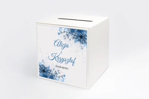 Pudełko na koperty do zaproszeń Zdjęcie&Kalendarz w folderze – Niebieski bukiet