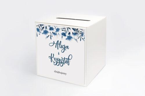 Pudełko na koperty do zaproszeń Zdjęcie&Kalendarz w folderze – Niebieskie kwiaty