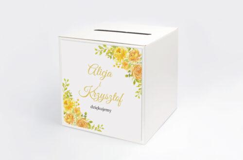 Pudełko na koperty do zaproszeń Zdjęcie&Kalendarz w folderze – Żółte róże