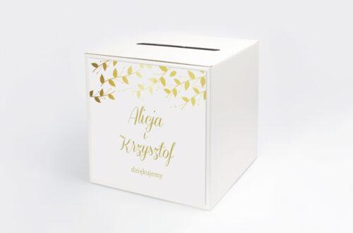Pudełko na koperty do zaproszenia Złote Lustro – Delikatne Liście