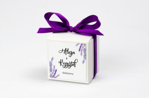Ozdobne pudełeczko z personalizacją Jednokartkowe Recyklingowe - Lawenda