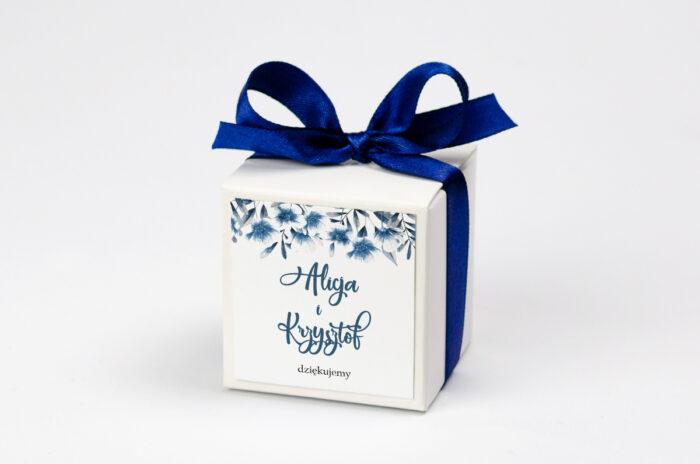Pudełeczko z personalizacją Zdjęcie&Kalendarz w folderze – Niebieskie kwiaty