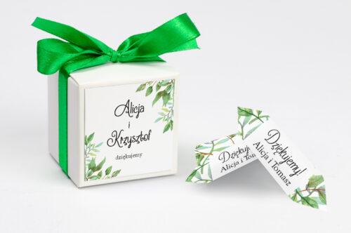 Ozdobne pudełeczko z personalizacją do zaproszenia ze zdjęciem i sznurkiem - Liściaste